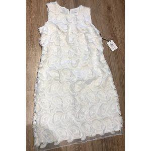 Brand New Calvin Klein White Rose Mesh Dress